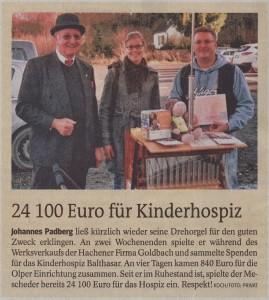 Zeitungsartikel: 24100 Euro für Kinderhospiz